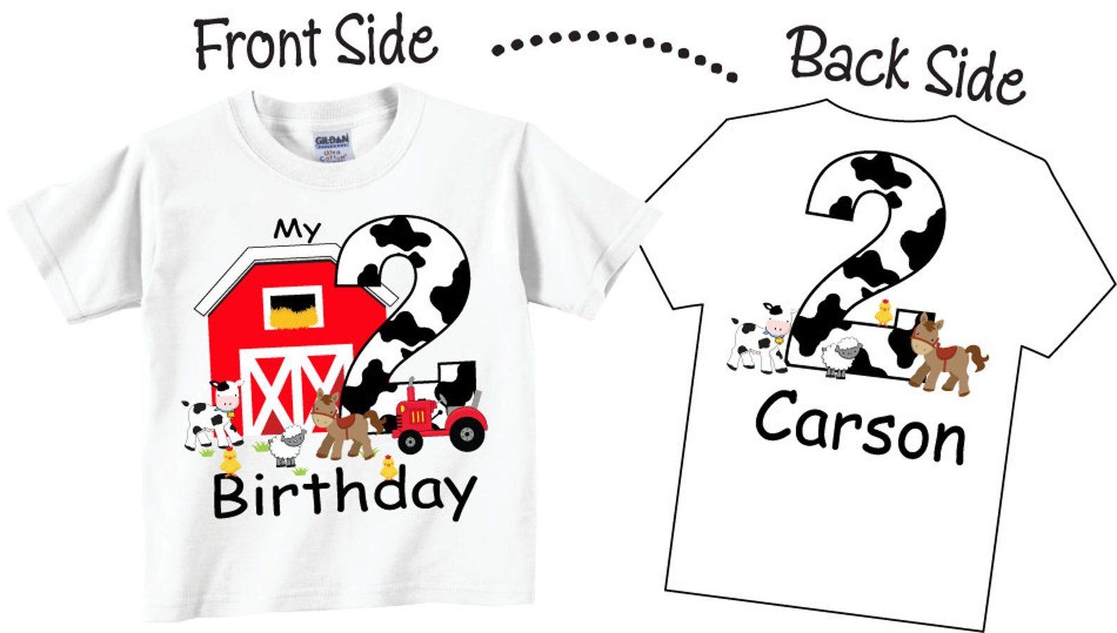 Kids Tractor Birthday Shirt Farm Birthday Party Shirt Orange Tractor Birthday Shirt Personalized Birthday shirt boy girl