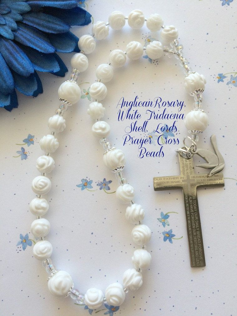 White Anglican Prayer Beads, Protestant Rosary, Gemstone Tridacna Shell, Carved Rose Beads, Lord's Prayer Cross, Holy Spirit Charm, by FaithExpressions on Etsy $65