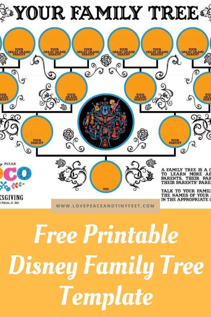 Free Disney Family Tree Template For Kids | Disney family, Family ...