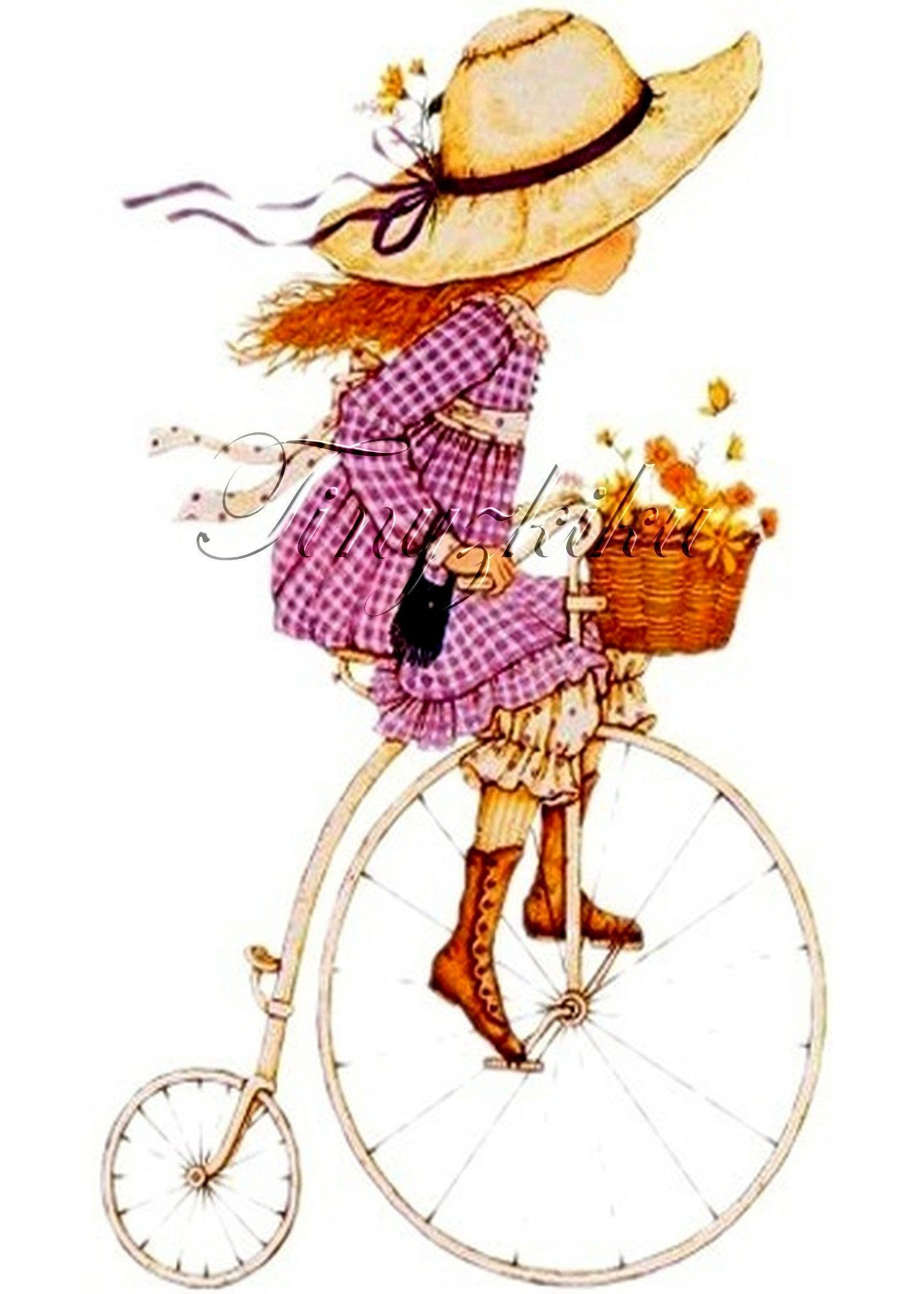 Holly Hobbie Bicycle Ride With Basket Of Flowers