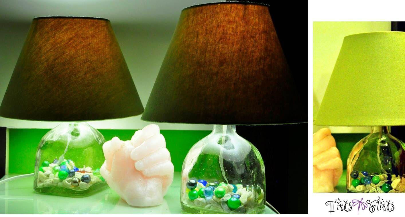 Sage green lamp shades on hand blown glass with an assortment of fun marbles in shades of green inside