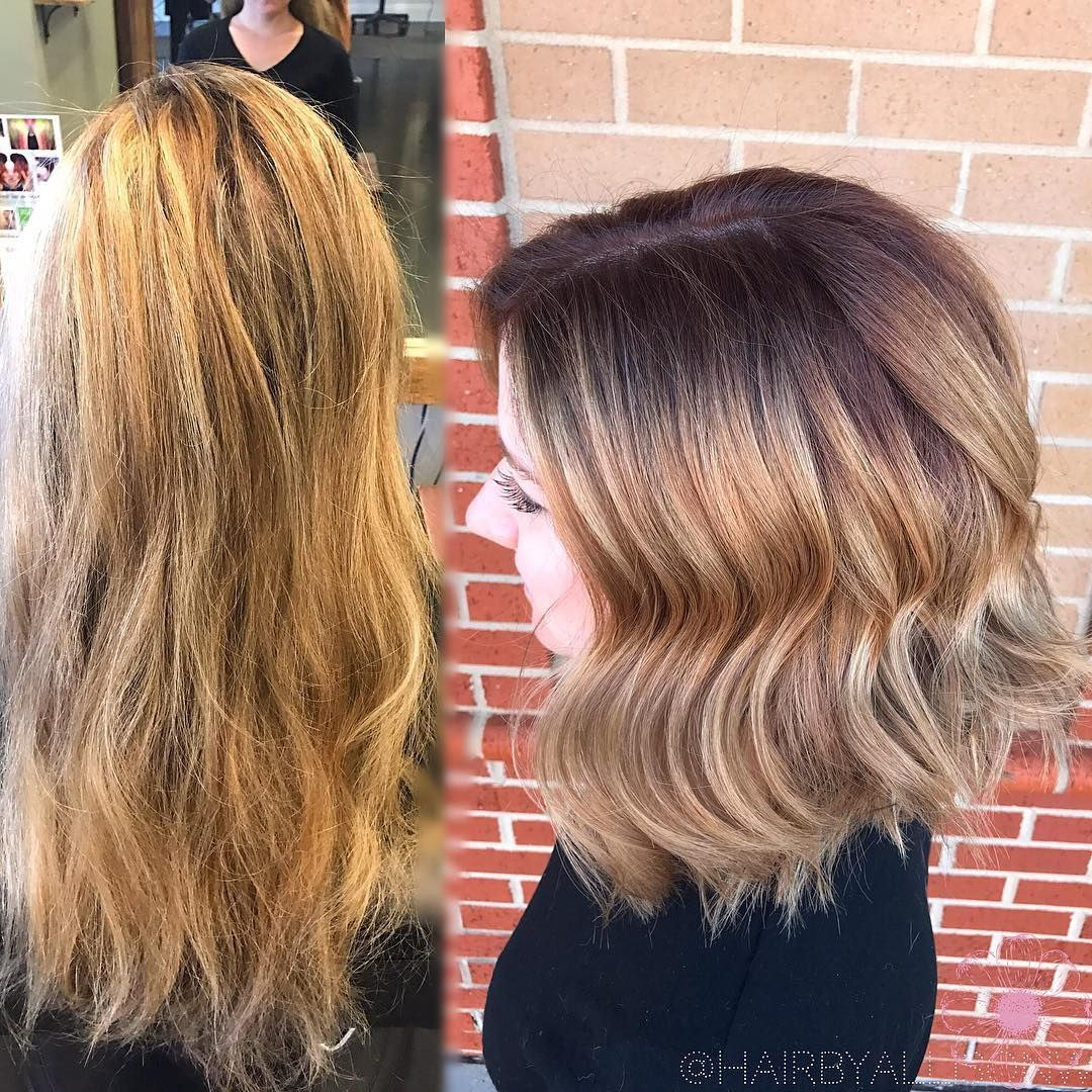 Big after wedding changes to a rich red brunette root and golden