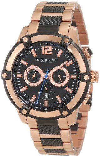 Stuhrling Original Men's 268B.332Q21 Champion Victory Rider Quartz Multi-Function Watch Stuhrling Original. $181.40. Black hydraulically stamped dimple design dial with rosetone applied stick markers and printed tachymeter on flange. High polish 16k rose gold layered bezel with black outline and protective krysterna crystal. Chronograph subdial on center dial with date window at 6 o'clock position. Rosetone triple row link bracelet with black hydaulically stamped dimpl...