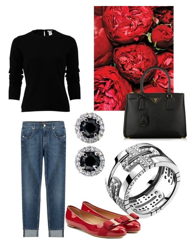"""Red Queen"" by alexandra-valadez on Polyvore featuring Bulgari, Oscar de la Renta, 7 For All Mankind, Salvatore Ferragamo, Prada, women's clothing, women, female, woman and misses"