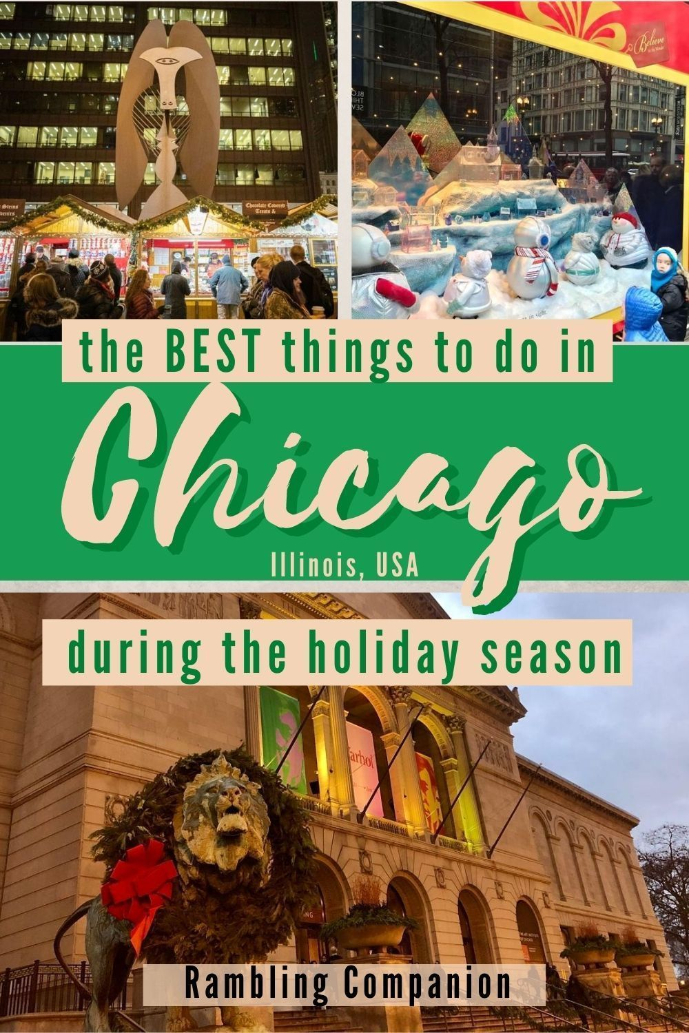 Planning on traveling to Chicago during the Holiday season? Chicago is full of Christmas cheer. This Midwest city has so many things to do to celebrate the holiday season from light displays to special holiday entertainment. #Chicago #Holidays #Winter