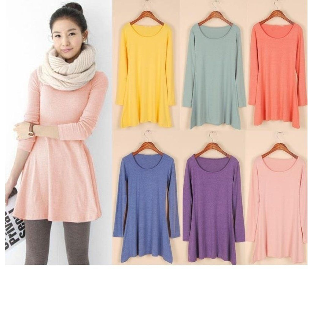 newfashion women girl mini dress long sleeve candy color one