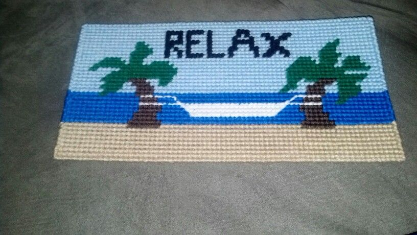 Plastic canvas beach sign wall hanging