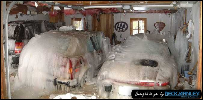 Busted Pipes Cold Weather Garage Car Sicles Frozen Pipes