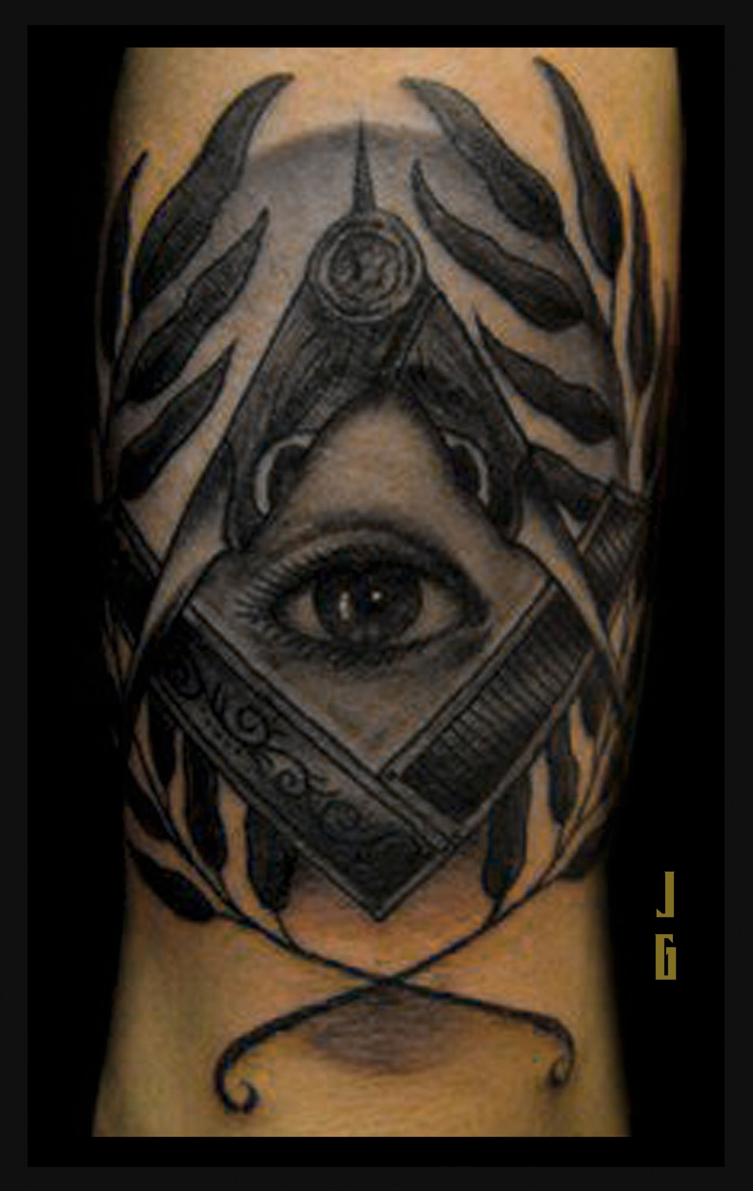 Square, Compass, All seeing eye Tattoo Masonic tattoos