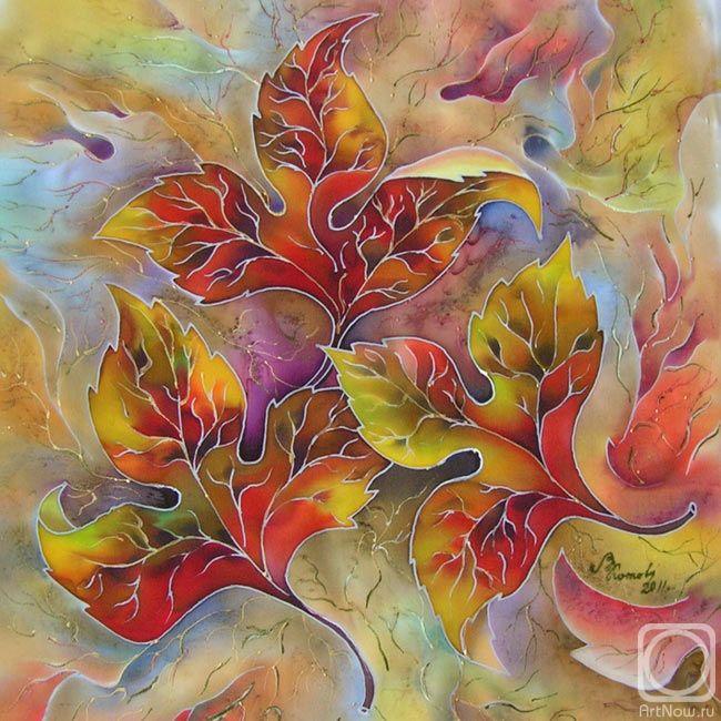 """Valentine Kotova """"Autumn dance"""" painting on silk"""