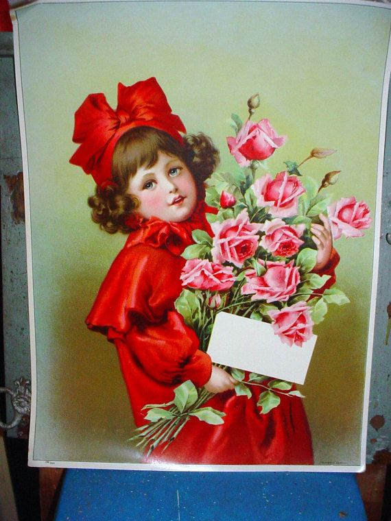 Victorian German Lithograph Poster Charming by SimplyCottageChic, $80.00