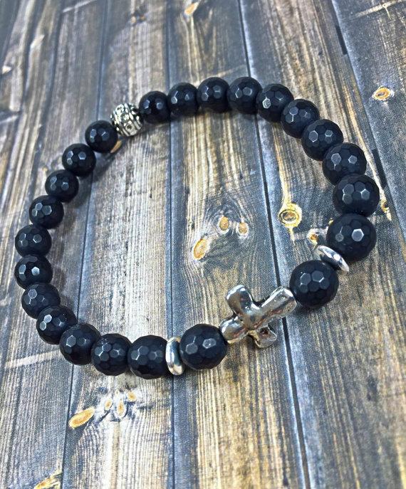 Mens cross bracelet mens bracelet cross bracelet by SJIJewelry