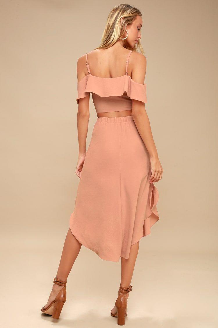 7c56e6f4e Lulus | Malta Mauve Pink Off-the-Shoulder Button-Up Two-Piece Dress ...