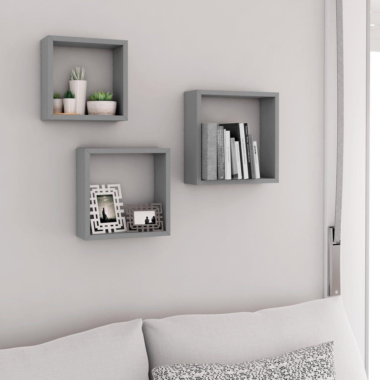Etagere 3 Cubes Gris Spaceo L 30 X P 10 Cm Ep 12 0 Mm Idee Deco Rangement Chambre Deco Murale Salon Etagere Cube Murale