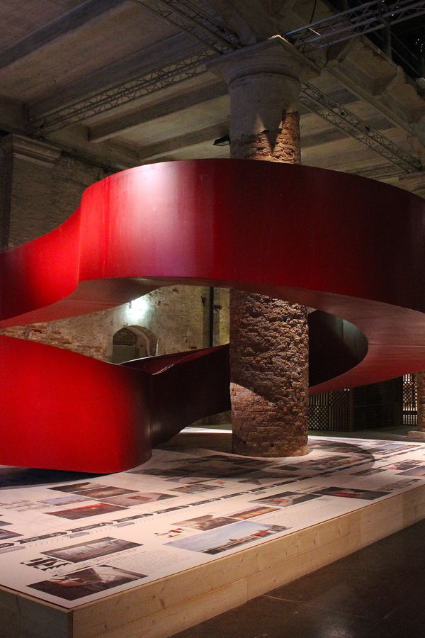 Aequilibrium suspended red walkway by C+S Architects at the Venice Architecture Biennale /// More on Interiorator.com