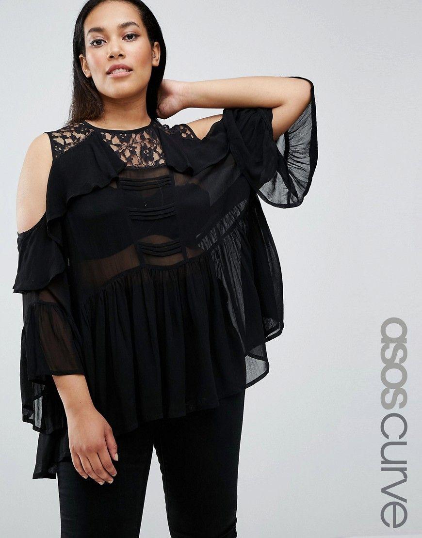 Compra Top hombros descubiertos de mujer color negro de Asos curve al mejor  precio. Compara precios de tops de tiendas online como Asos - Wossel España