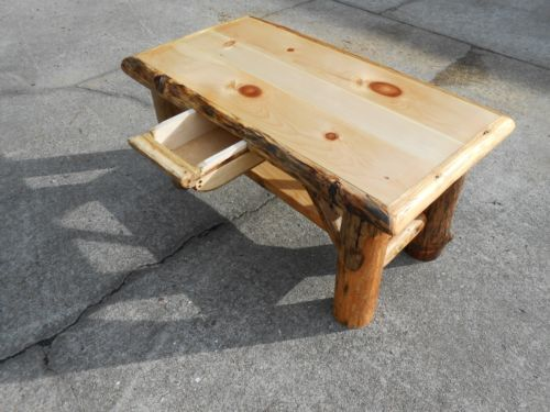 Rustic Log Handcrafted Coffee Table with Hideaway Drawer/Secret Compartment - World Of Miniature Bears - RABBIT - 5
