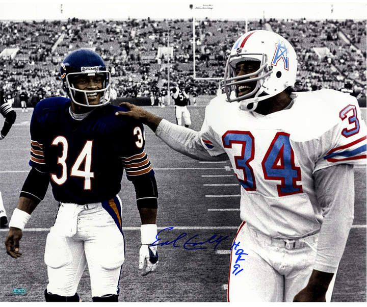 Autographed Walking With Walter Payton Black and White 16 Inch X 20 Inch Photo With HOF Hall of Fame Inscribed Single Earl Campbell
