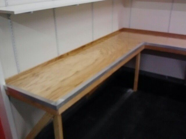 Oak Work Bench With Bar Top Coat And Metal Trim