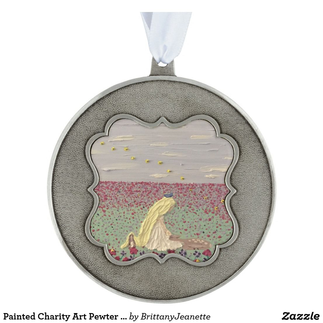 Painted Charity Art Pewter Christmas Ornament   Zazzle.com ...