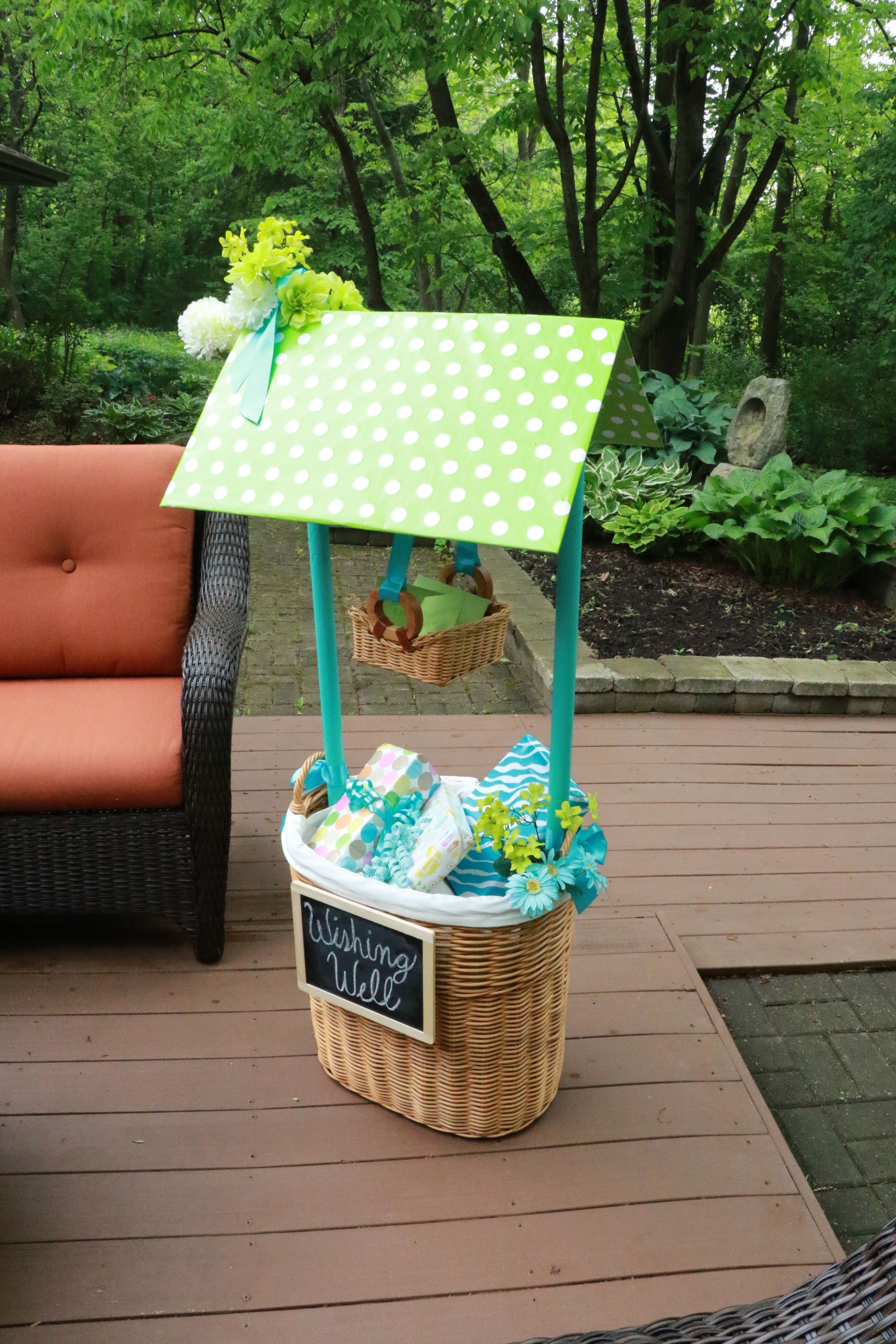 How To Make Your Own Beautiful Wishing Well Basket For A Bridal Or Baby Shower Wishing Well Baby Shower Bridal Shower Wishes Baby Girl Gift Baskets