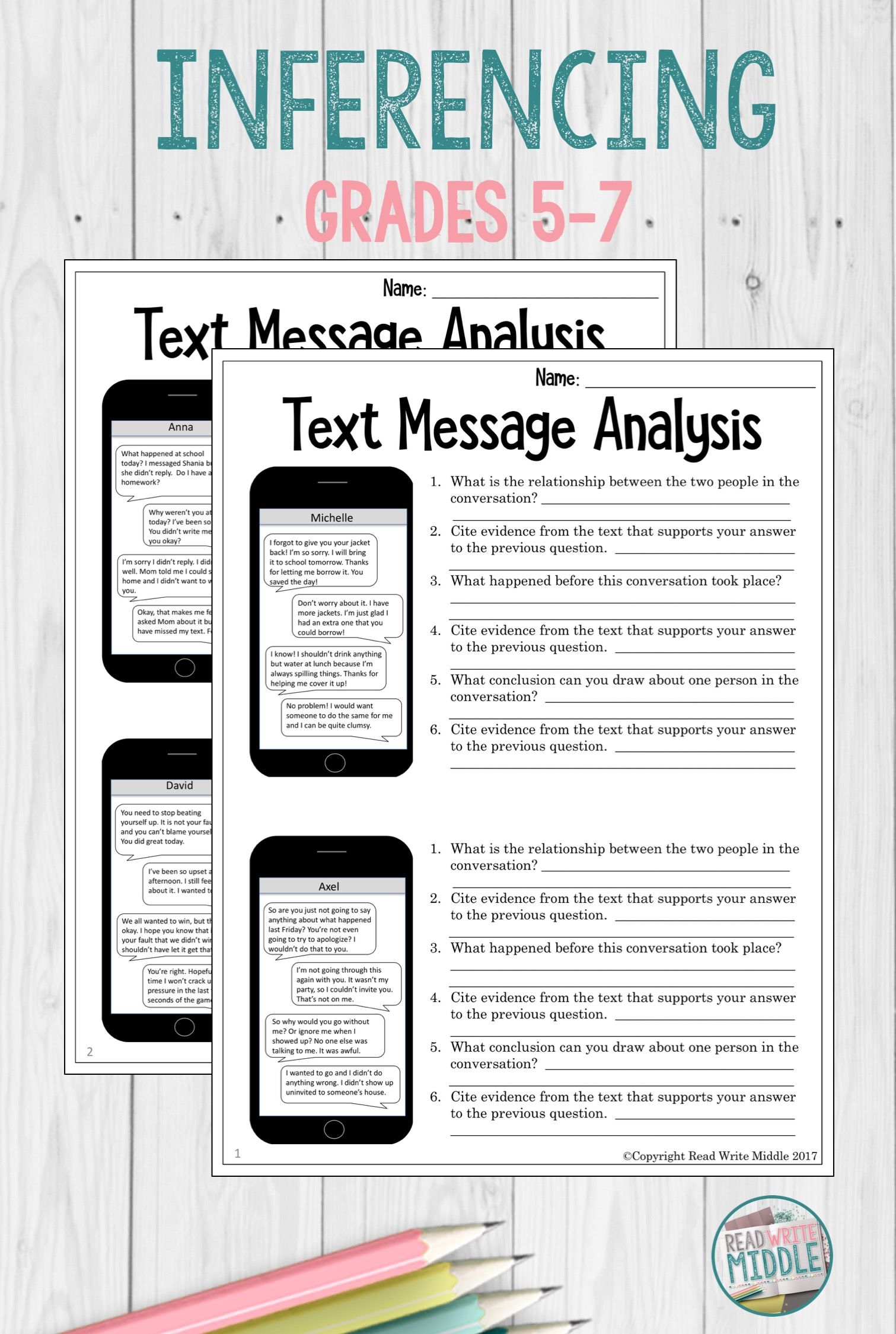 In This Engaging Activity Students Will Review Eight Different Text Message Conversations In Order To Middle School Reading Reading Classroom Citing Evidence