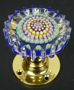 AMAZING PERTHSHIRE FACETED MILLEFIORI ART GLASS & BRASS PAPERWEIGHT ...