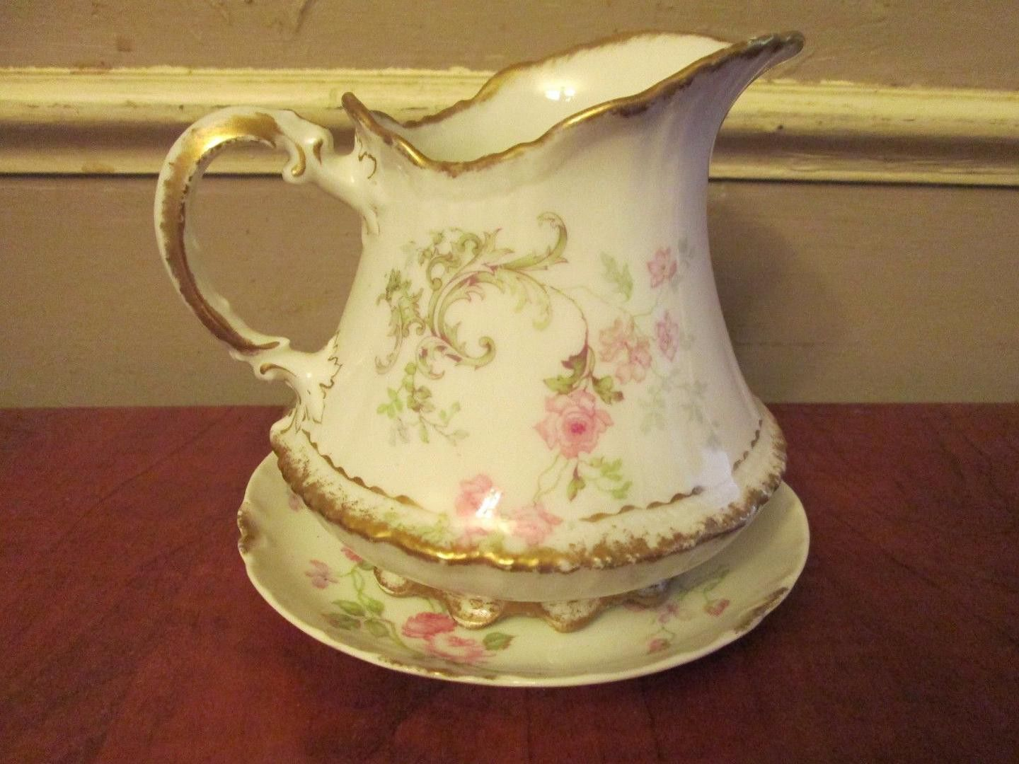 Haviland Limoges Roses Floral Small Pitcher Creamer plate saucer France no chips or cracks. some fading of paint. * VINTAGE AND/OR PREOWNED ITEMS ARE USED AND WILL GENERALLY SHOW SIGNS OR NOR