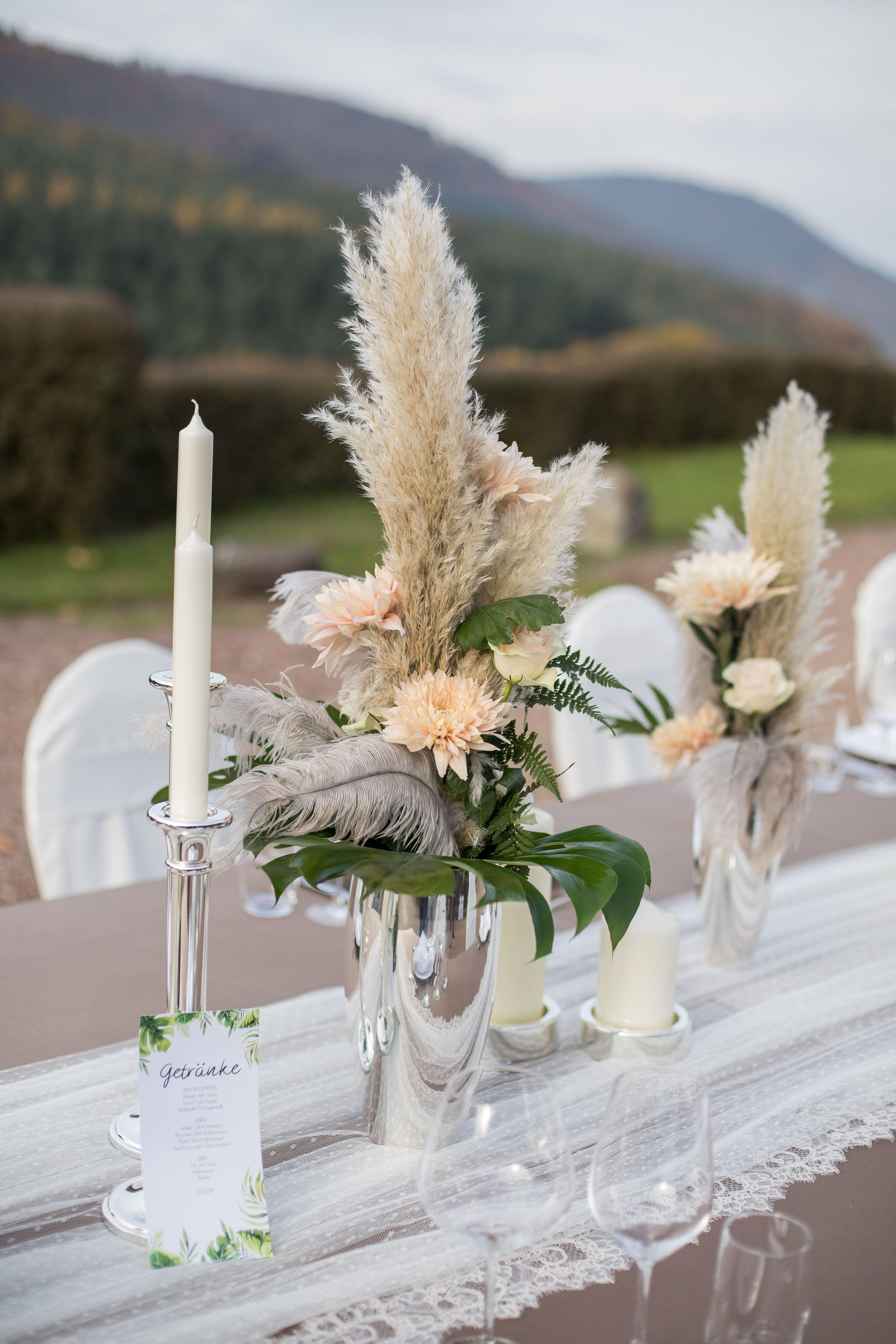 Idee Idea Traumfänger Boho Greenery Birke Outdoor Federn Rosen Pampa Gras Silber Spitze Vinta Dekoration Hochzeit Hochzeitsdeko Hochzeitsdekoration