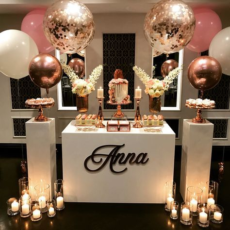 A stunning pink and rose gold set up for the equally stunning @annapetkovski Sweet 16 Birthday Party. Planning|Styling|Set… #sweet16birthdayparty