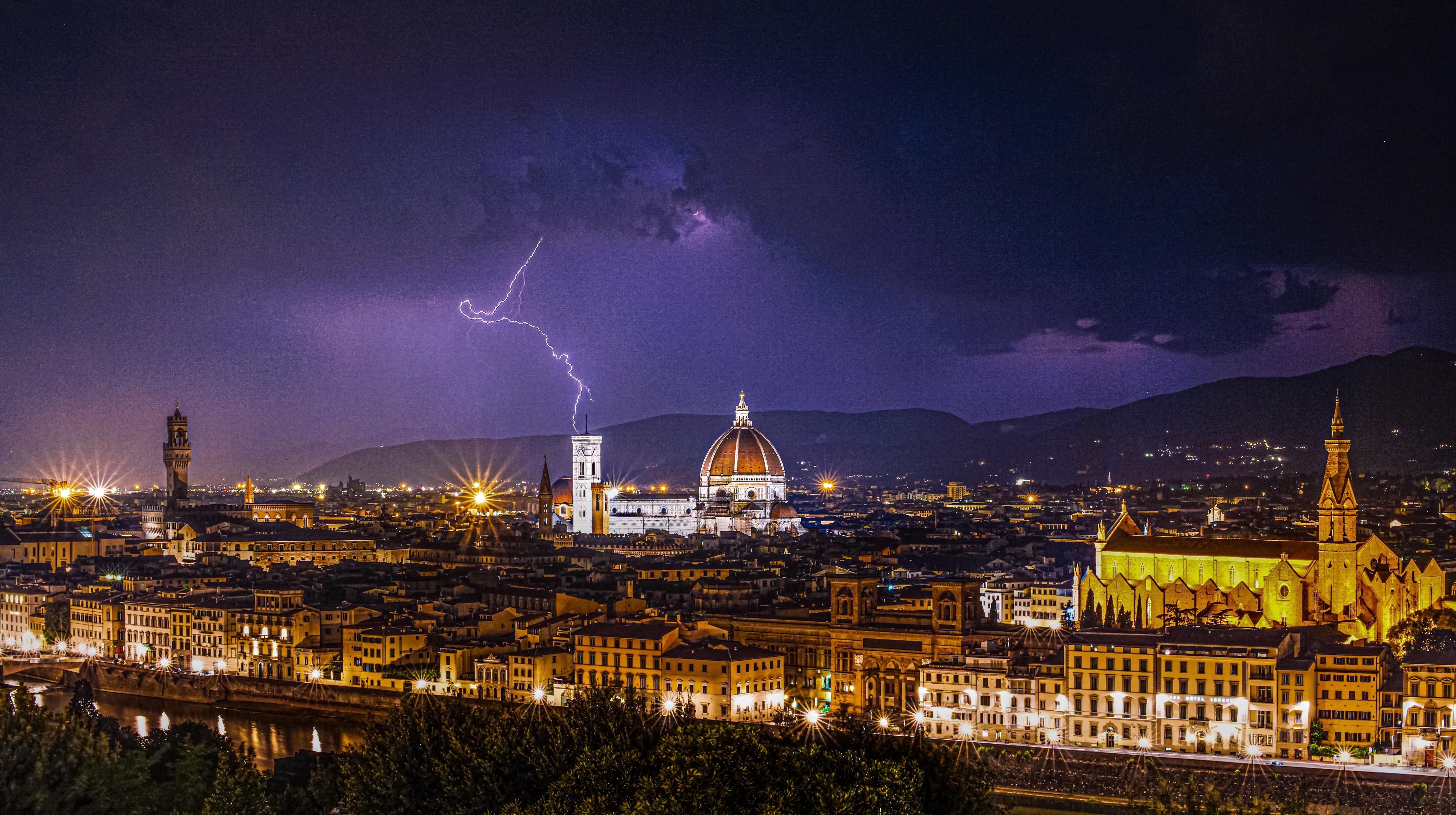 Early morning lightening strike it florence italy