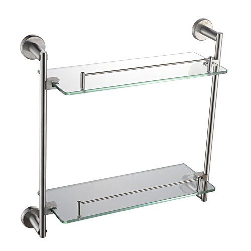 Pin By Angle Simple On Bathroom Hardware Pinterest Bathroom Rack - Brushed nickel glass bathroom shelf