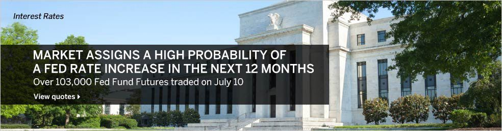 July 15, 2014: Market assigns a high probability of a Fed rate increase in the next 12 months.