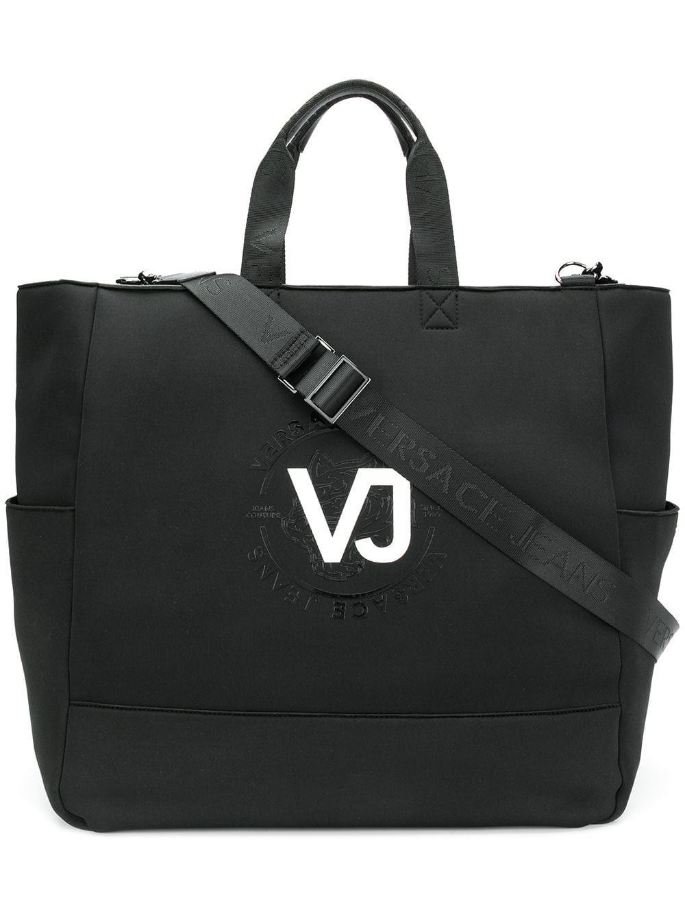 VERSACE JEANS VERSACE JEANS LOGO PRINT TOTE - BLACK.  versacejeans  bags  shoulder  bags  hand bags  denim  tote  lining ad1eb7074b353