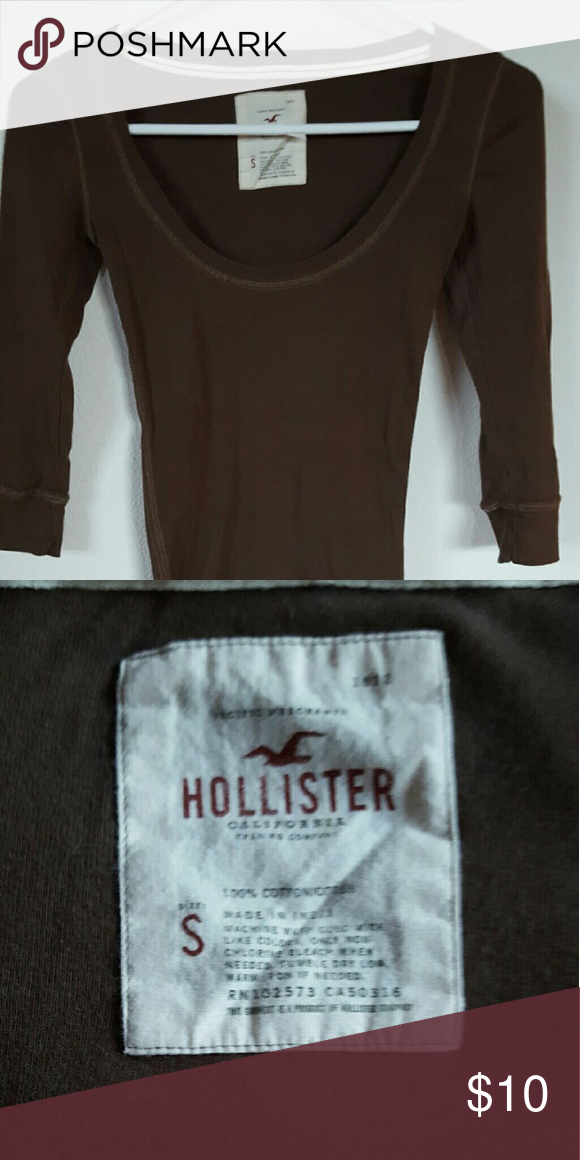 6d08f03bebefc HOLLISTER Womens Shirt HOLLISTER Womens 3 4 sleeve dark brown t-shirt.  Great condition Hollister Tops Tees - Long Sleeve