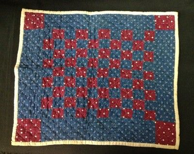Fantastic Block Doll Maroon and Blue with Homespun Back Quilt Handstitched 1870s, 12 x 10 in | eBay, reijen