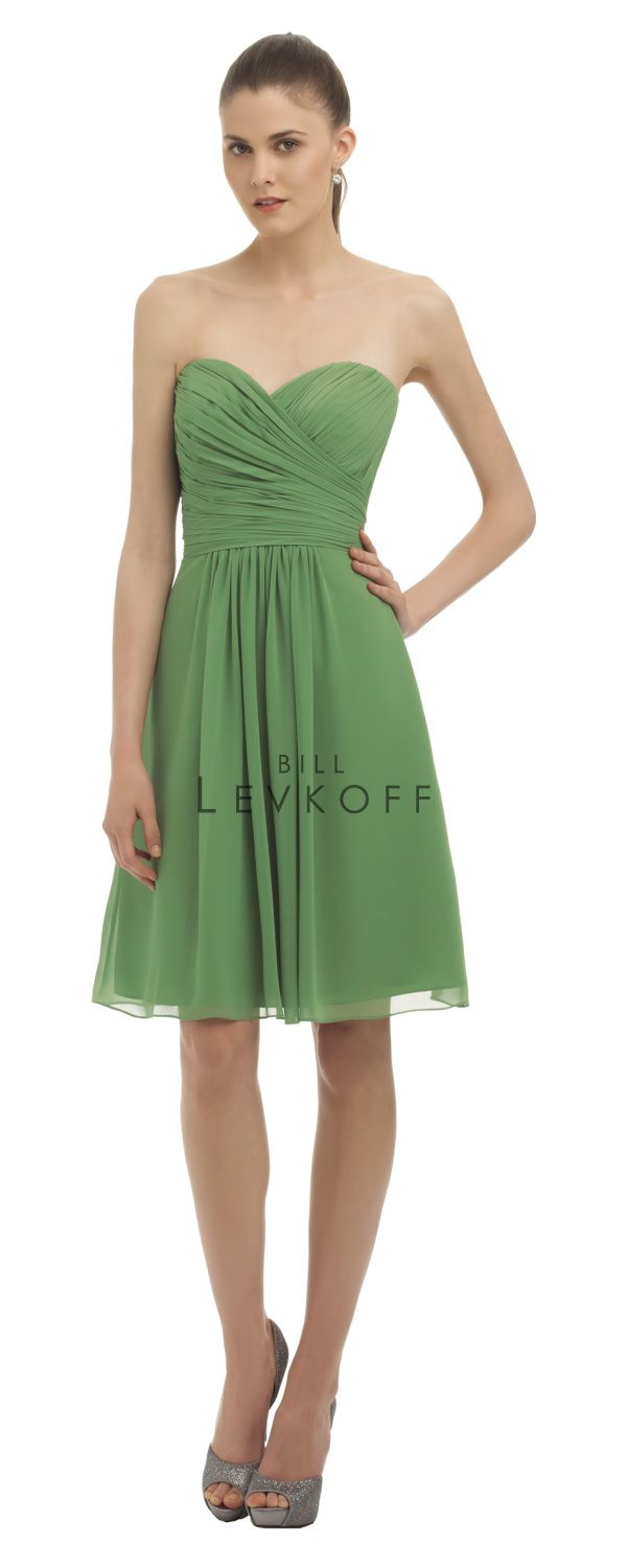 Chiffon strapless cocktail dress with a sweetheart neckline. Asymmetrical ruching and pleats shape the bodice. Soft gathers adorn the skirt.