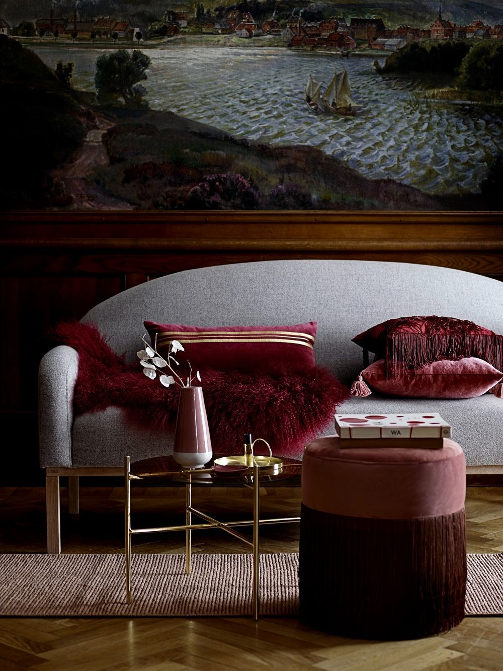 Kissen Charleston   Wohnzimmer-rot, Herbstdekoration und Bordeaux