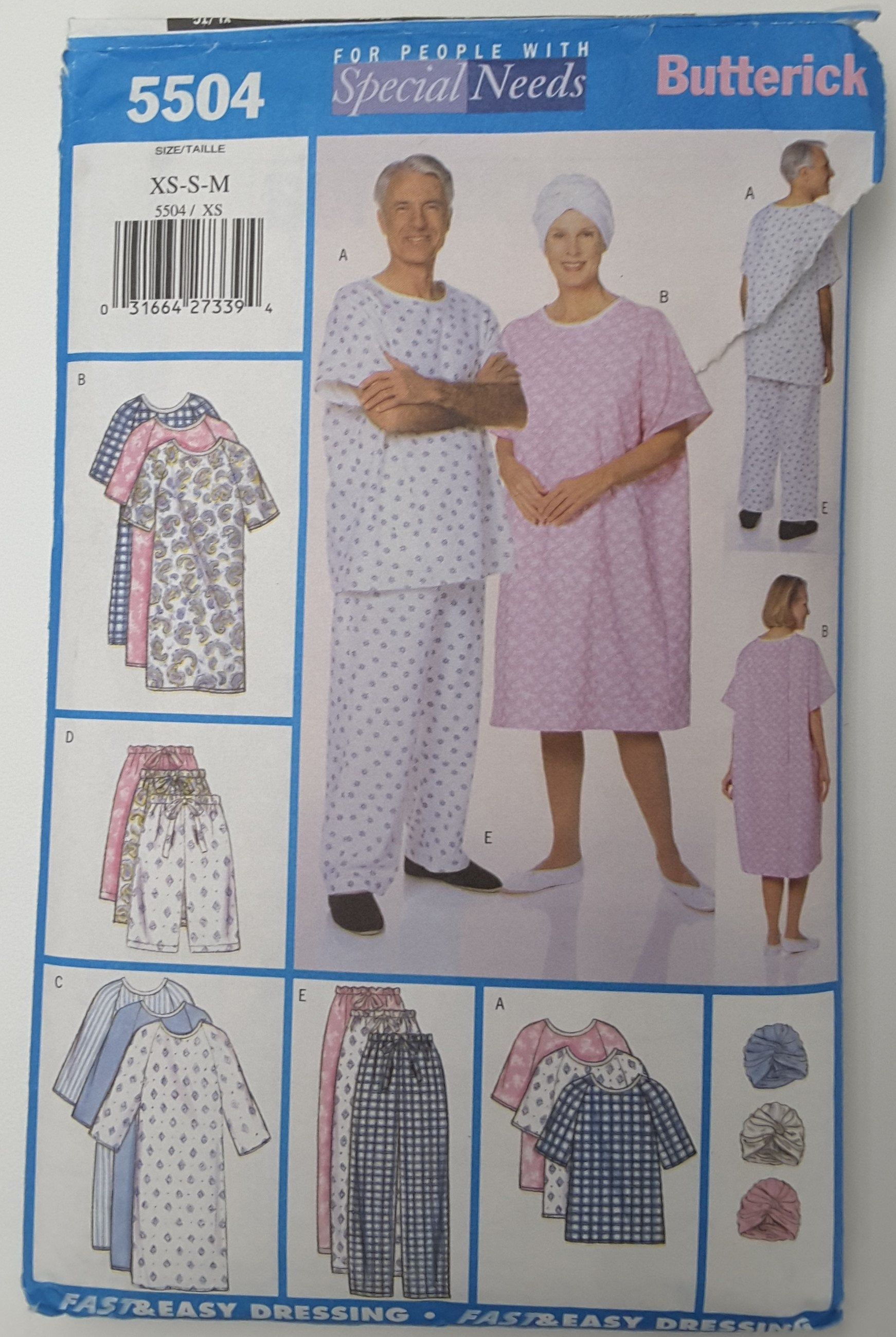 Butterick 5504 For People With Special Needs Unisex Gown Top