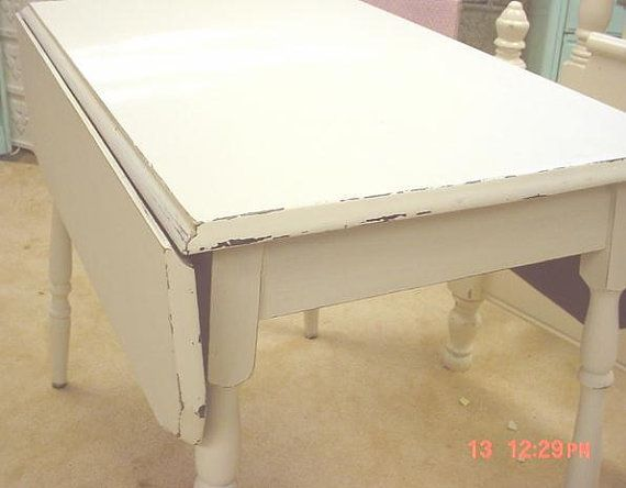 Vintage Table Shabby Chic Painted White Drop Leaf Kitchen