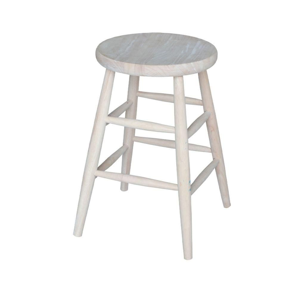 International Concepts 24 In Unfinished Wood Bar Stool 1s 824 The Home Depot