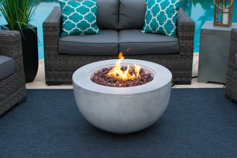 """30"""" Outdoor Propane Gas Fire Pit Table Bowl in Gray 