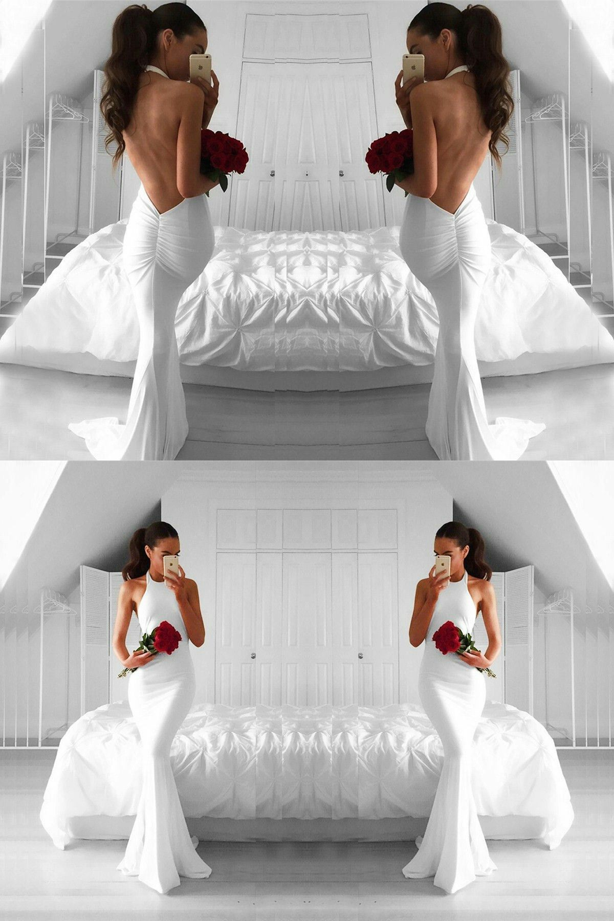 Mermaid halter white chiffon sweep train backless prom dress with