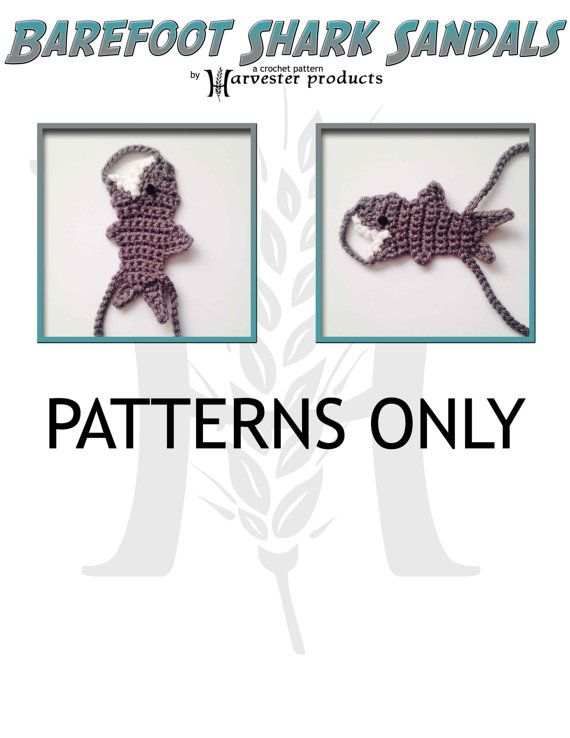 Barefoot Shark Sandals Crochet Pattern for Boys and Girls | Crochet ...
