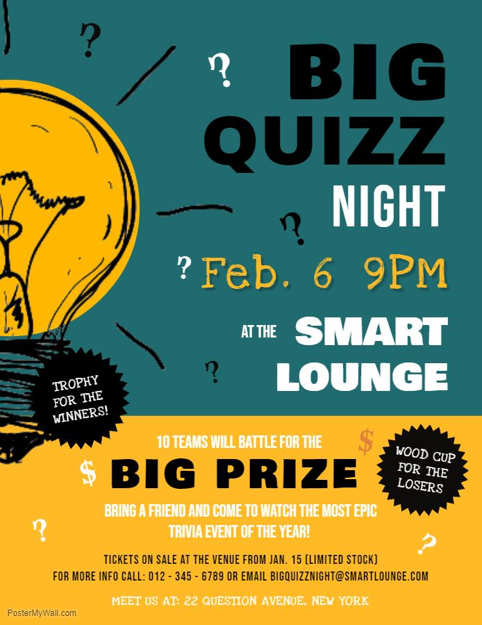 Big Quiz Night Event Poster Template Poster Template Design Contest Poster Quiz Design