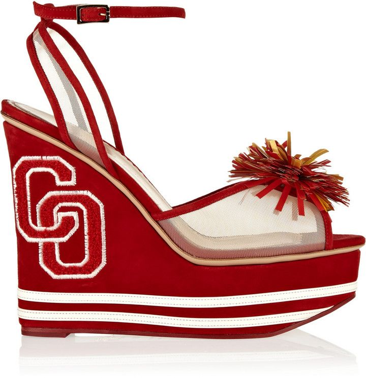 Red Suede Wedge Sandals by Charlotte Olympia. Buy for $453 from theOutnet