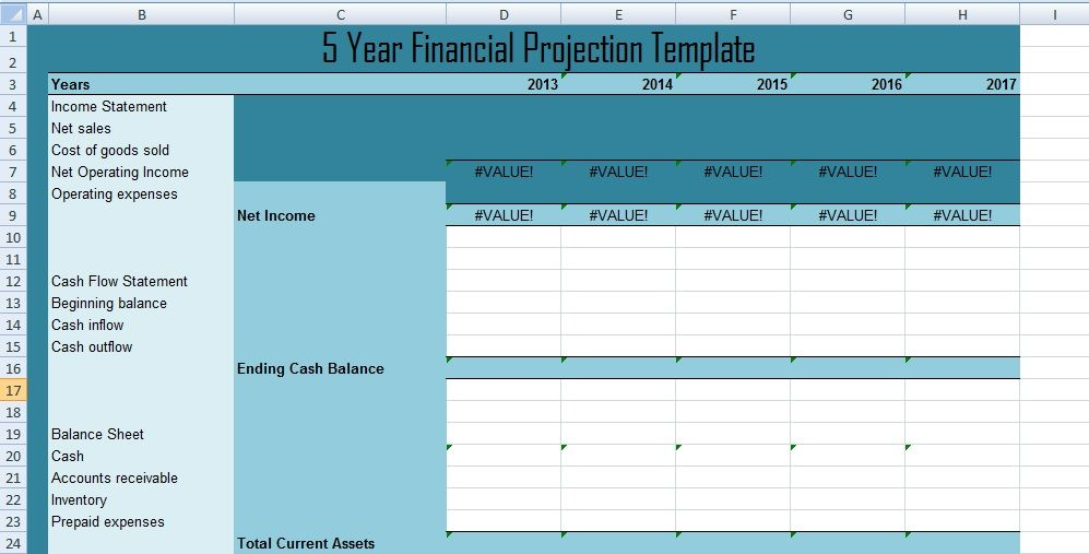 Get 5 Year Financial projections template xls Excel Project