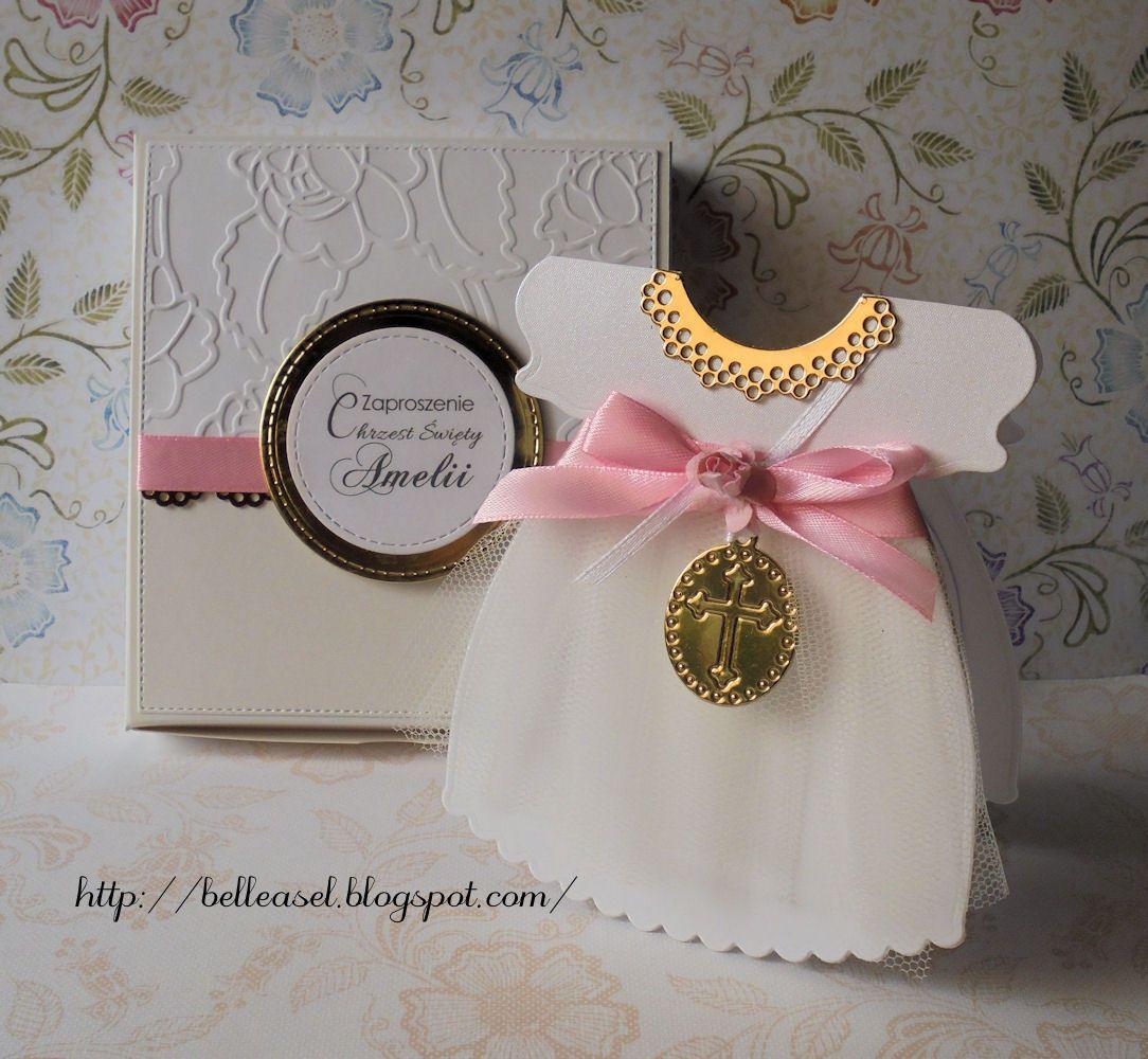 free online christening invitation making%0A handcrafted baptism invitation  baby girl dress  zaproszenie chrzciny  sukienka