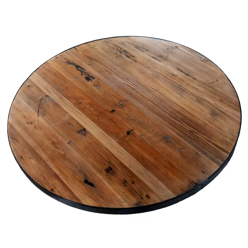 Round Metal Edge Band Table Top In 2021 Round Wood Table Reclaimed Wood Table Top Wood Table Top
