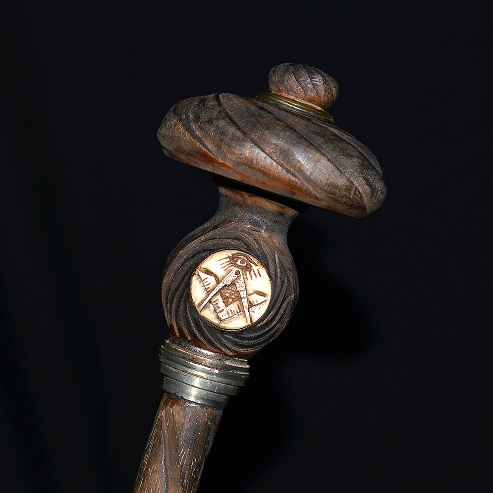 Antique masonic gadget cane scepter hand carved wax seal all antique masonic gadget cane scepter hand carved wax seal all seeing eye inlay biocorpaavc Image collections